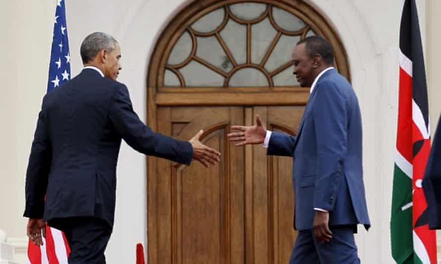 Barack Obama shakes hands with Kenya's president Uhuru Kenyatta