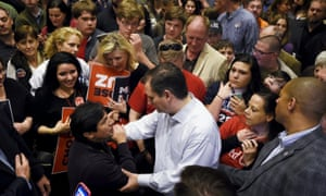 Cruz speaks to supporters during a campaign rally in Greenville, South Carolina on 19 February 2016.