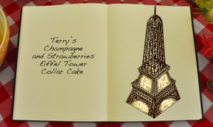 Terry's Champagne And Strawberries Eiffel Tower Collar Cake , an illustration for the Great British Bake Off creation by Tom Hove.
