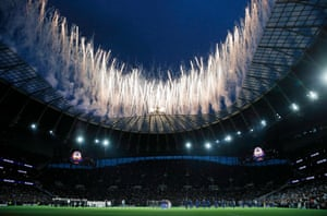 April 3: Fireworks just before kick off against Crystal Palace in the first game at the new Tottenham Hotspur Stadium.