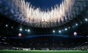 Fireworks are set off before the kick-off and Steve Sidwell belts out a version of Glory, Glory Tottenham Hotspur in front of the assembled teams.