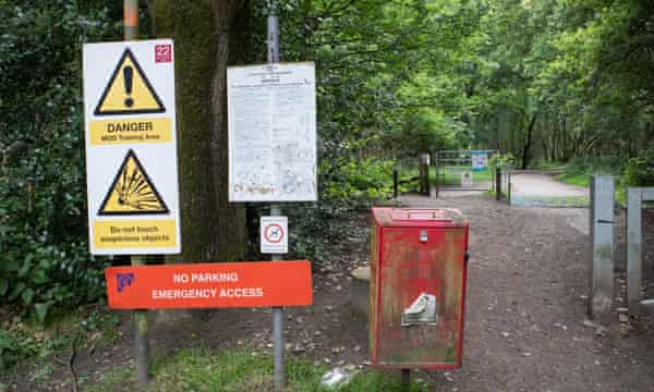 Signs put by the MoD to deter people from using the firing range near Aldershot.