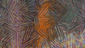 Trademark cross-hatch … Jasper Johns's Between the Clock and the Bed (1981).