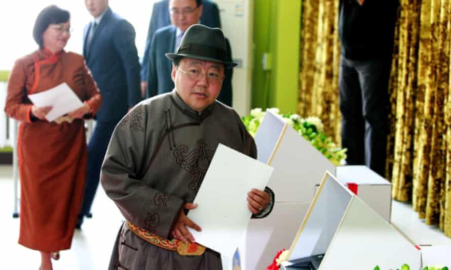 Mongolia's president, Tsakhiagiin Elbegdorj, prepares to vote in the election.