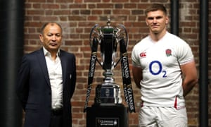 Eddie Jones and Owen Farrell pose for a photo with the Six Nations Trophy