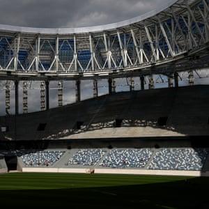 A general view of the interior of Nizhny Novgorod Stadium.