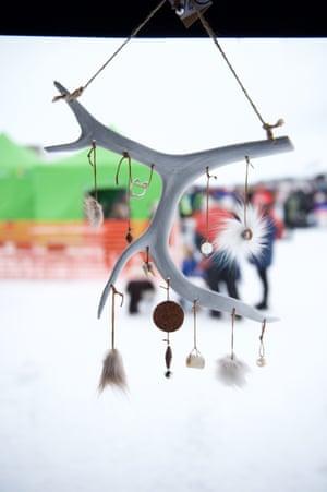 A Sámi decoration made from reindeer bones and fur.