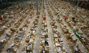 Inside a Amazon warehouse, in Milton Keynes, England.