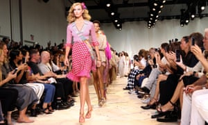 US model Karlie Kloss on the catwalk during the Diane von Furstenberg show at New York fashion week.