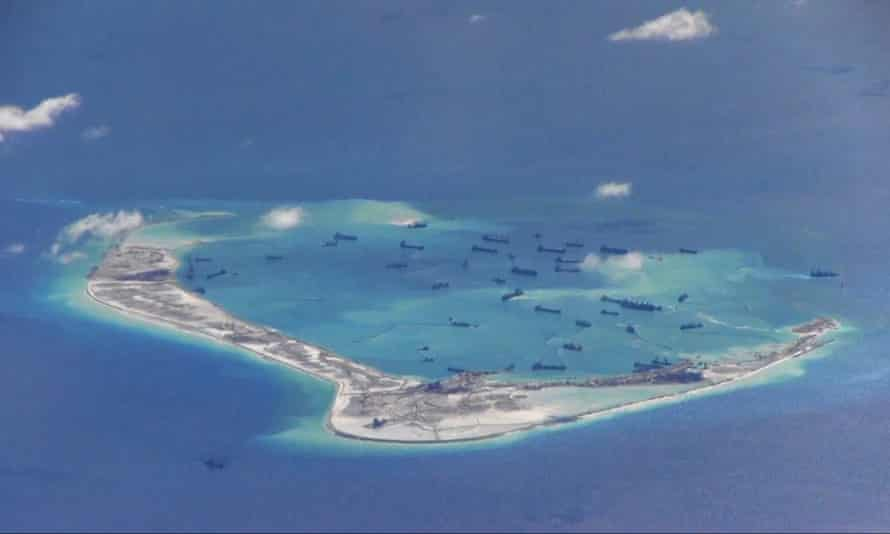 This image from the US navy purportedly shows Chinese dredging vessels in the waters around Mischief reef in the disputed Spratly archipelago in May 2015.