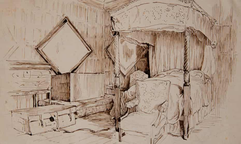 Beatrix Potter's line drawing of the chamber room in Melford Hall.