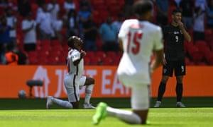 England players take the knee before their Euro 2020 game against Croatia