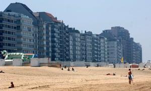 Apartment blocks overlooking the beach at Knokke-Heist in Belgium.