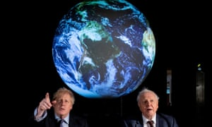 Boris Johnson and David Attenborough attend a conference about the Cop26 UN climate summit in London