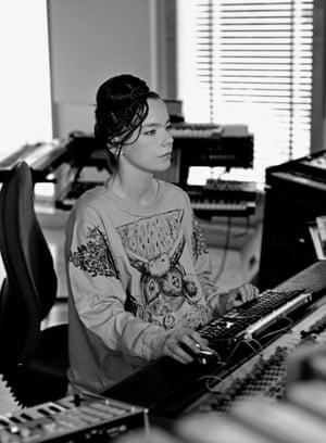 Björk in the studio during a Medúlla session, 2004.