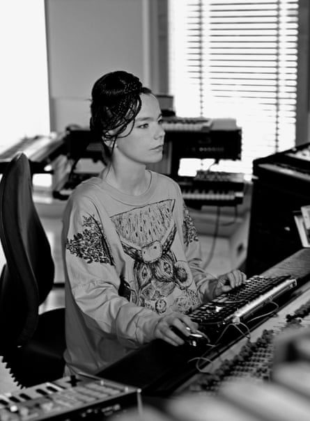 Björk in the studio during a Medúlla session, 2004.