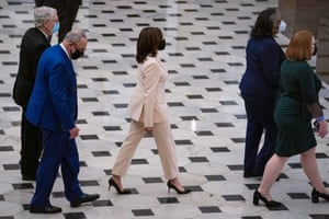 The vice-president, Kamala Harris, is seen making her way toward the House chamber.