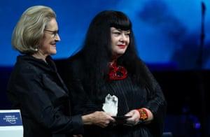 "Australian artist Lynette Wallworth accepts the ""Crystal Award""."