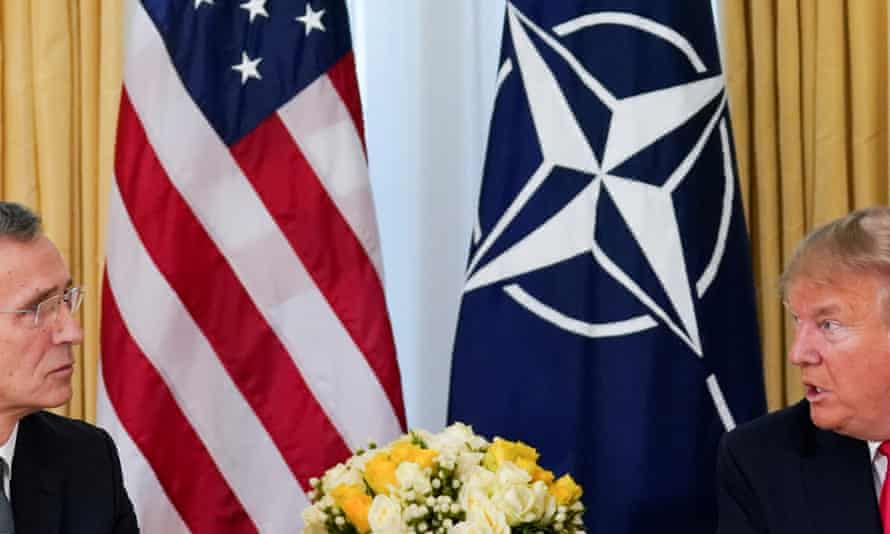 Trump meets with NATO Secretary General Jens Stoltenberg in London on Tuesday.