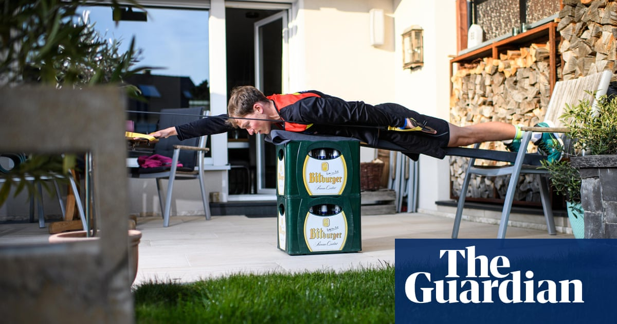 Working from home: athletes find inventive ways to train – in pictures