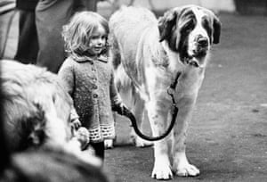 A girl with a St Bernard dog