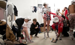 Models backstage at the Fashion East AW 2018 LFW show.