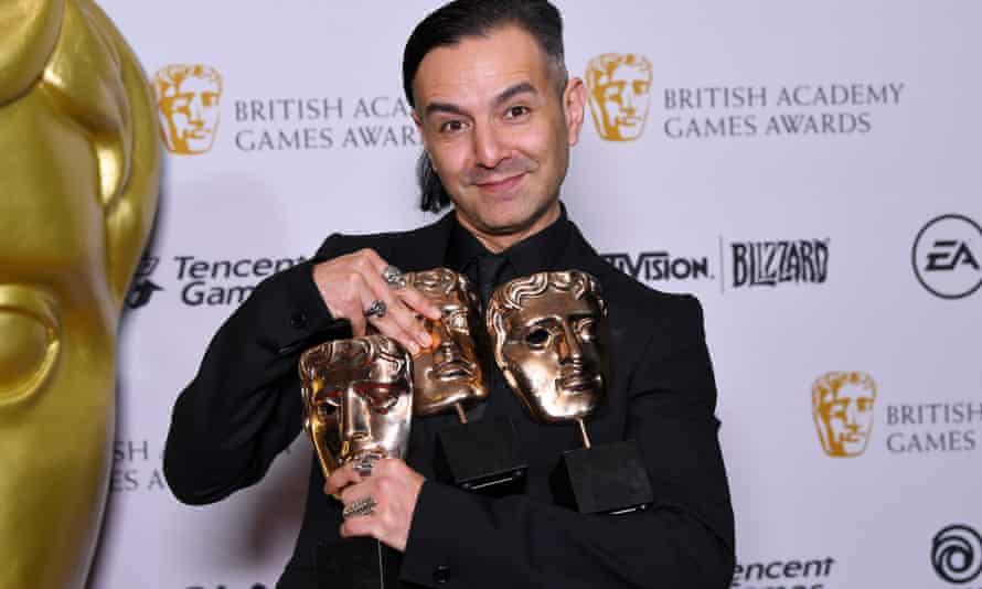 Tameem Antoniades, co-founder of Ninja Theory, with Baftas won by Hellblade: Senua's Sacrifice.