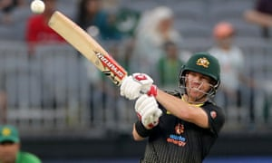 David Warner looks for the boundary at Perth