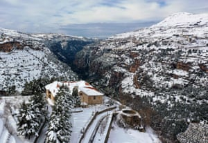 Aerial view of the Unesco world heritage site of the Qadisha valley and the Christian Maronite monastery of Saint Alichaa that flanks the Cedars area in the Lebanese mountains.