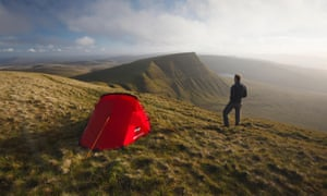 Wild camping on Fan Foel in the Brecon Beacons.