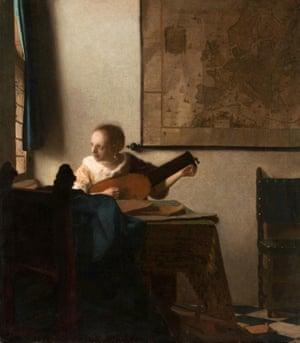Johannes Vermeer's Woman with Lute, 1663.