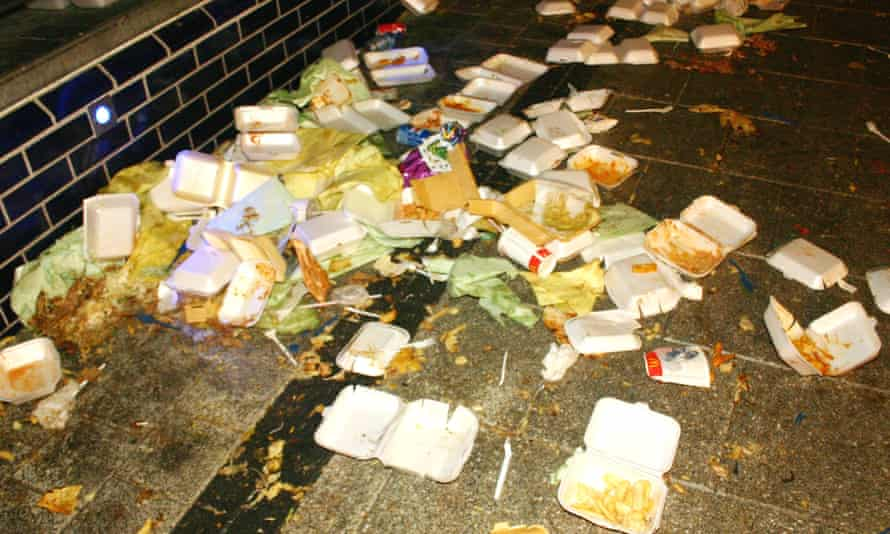 Takeaway food rubbish left on a pavement in Cardiff, Wales. The Dimbleby review notes the 'guaranteed market' assured by high-calorie food.