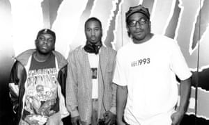 Phife Dawg, left, in 1990, alongside with his A Tribe Called Quest bandmates Ali Shaheed Muhammad and Q-Tip.