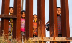 Children on the Mexican side of the US/Mexican border.