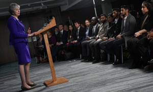 Theresa May gives a speech in Manchester.