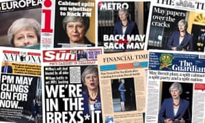 Front pages of the UK newspapers on the day after Theresa May's Brexit deal was presented to a split cabinet