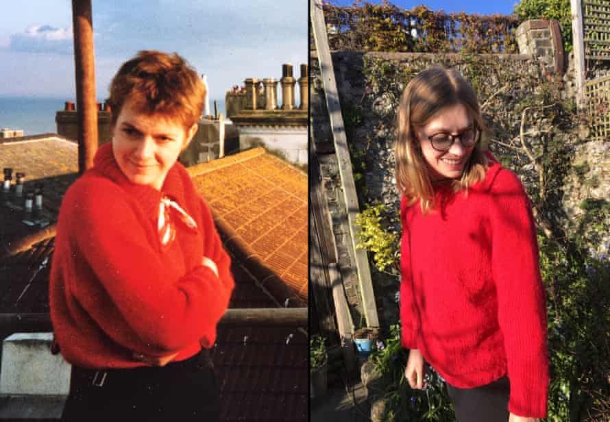 Sue Rubinstein in her red wool jumper in the 1980s, and her daughter in the replacement, knitted by her grandmother from the same pattern