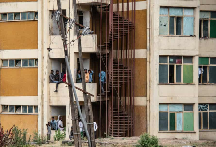 Students in Ambo University's male dormitories, situated on the main campus