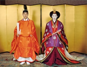 Crown Prince Akihito and Crown Princess Michiko in traditional ceremonial attire pose after the 'Kekkon-no-Gi' wedding ceremony at the Imperial Palace in Tokyo in April 1959