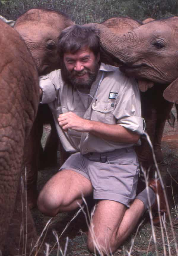 Ian Redmond is investigated by elephant orphans
