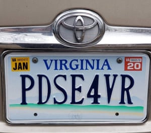 Trisha Wells' new license plate after being forced to leave town.