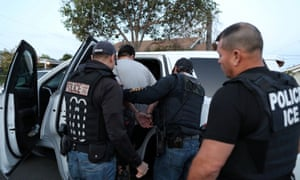 US Immigration and Customs Enforcement's fugitive operations team arrest a Mexican national in Paramount, California, 1 March 2020.