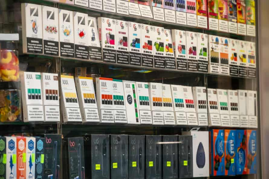 Juul vaping supplies on sale in New York. Youth vaping has been called an 'epidemic'.