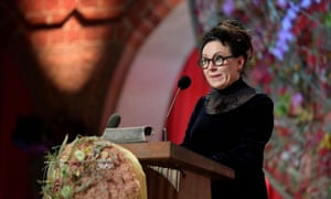 Nobel laureate Olga Tokarczuk gives her speech during the Nobel banquet in Stockholm on 10 December 2019.