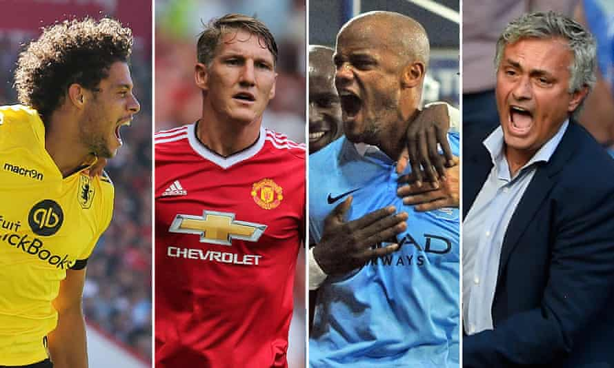 From the opening day of the season: Aston Villa's Rudy Gestede celebrating, Manchester United's Bastian Schweinsteiger looking pensive, Manchester City's Vincent Kompany after scoring and Chelsea's José Mourinho reacting.