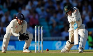 Steve Smith looks to drive a delivery from Jack Leach