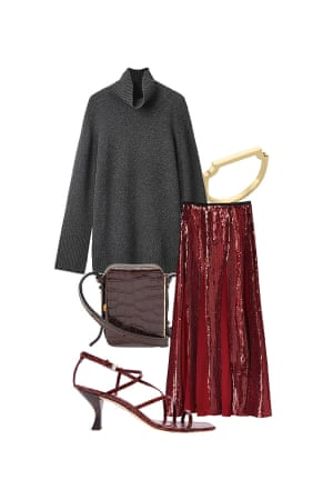 Helen Seamons, Menswear editor 'If you're not a fan of too much sparkle, opt for a panelled skirt.' Skirt, £95.99, zara.com. Bag, £505, Lutz Morris at matchesfashion.com. Ring, £65, monicavinader.com. Sandals, £270, Staud at net-a-porter.com. Jumper, £150, cosstores.com