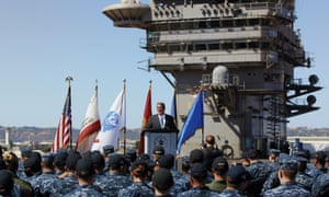 Ash Carter speaks to sailors on the USS Carl Vinson in San Diego on Thursday. The US wanted to remain the 'security partner of choice' in the region.