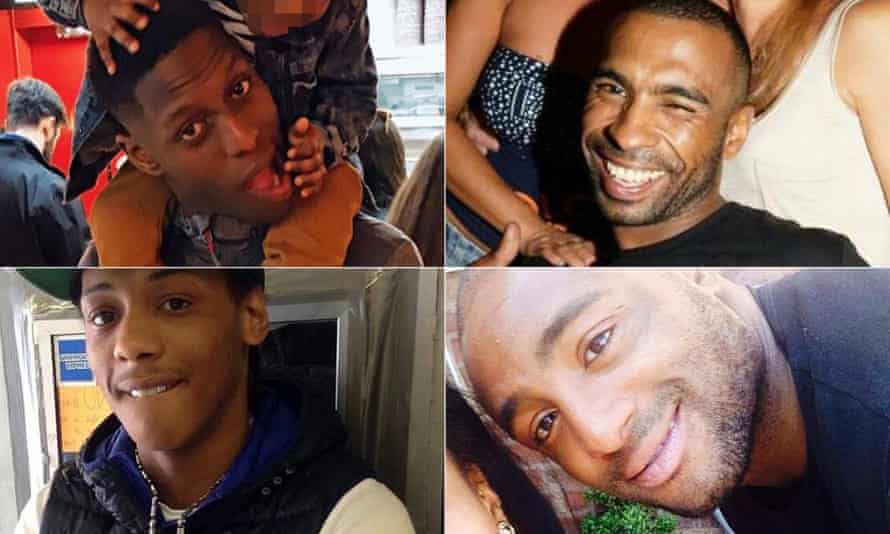The young men who after police contact. Clockwise from top left; edson da costa Darren Cumberbatch Shane Bryant Rashan Charles