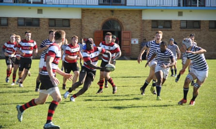A secondary school rugby match.